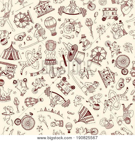 Seamless pattern Doodle Circus people and animals contour elements