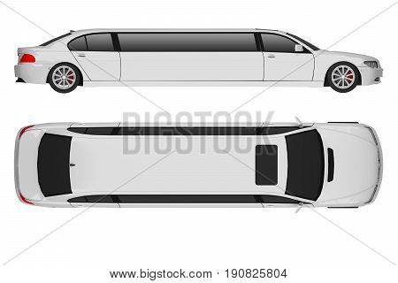 limousine isolated on white top and side view. 3d rendering