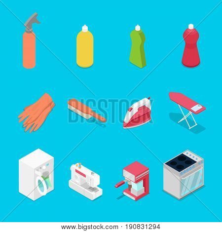 Isometric Housework Objects with Spray, Iron and Washing Machine. Vector flat 3d illustration