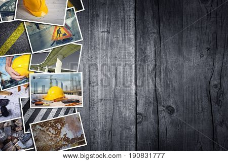 Construction photo collage on wooden desk background