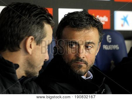 BARCELONA, SPAIN - APRIL, 29: Luis Enrique Martinez(R) manager of FC Barcelona  during a Spanish League match against RCD Espanyol at the RCDE Stadium on April 29 2017, in Barcelona Spain