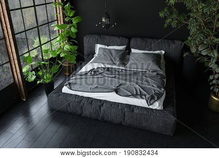 King size bed in dark colours in bedroom with black interior design and indoor plants, view from above. 3d rendering