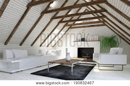 Cozy monochromatic white living room or den in a converted attic or loft with wood cladding on the sloping pitch of the roof and a fireplace at the end. 3d rendering