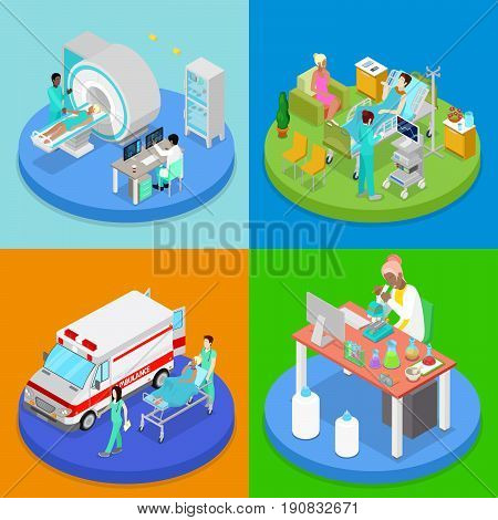 Isometric Medical Clinic. Health Care Concept. Hospital Room, Ambulance Emergency Service, MRI. Vector flat 3d illustration