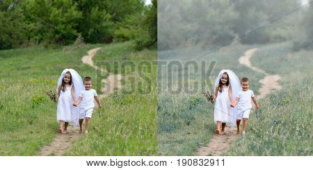 Young bride and groom playing wedding summer outdoor. Retouch before and after. Power of retouching.