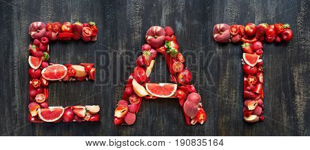 Eat spelled with red coloured fresh produce, part of collection of food words formed with single or multi coloured fruits and vegetables