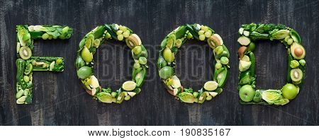 Flat lay series of food words in green produce fruit and vegetables design element poster spelling layout