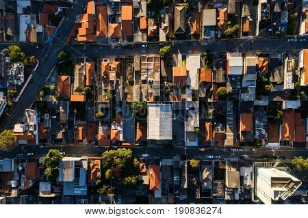 Top view of a residential area