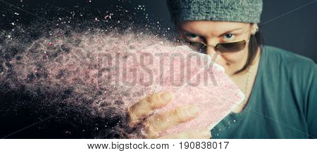 Conceptual image of poker player addicted to playing poker