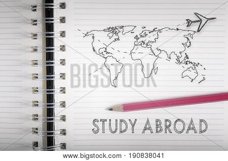 Study abroad. Airplane flying above world map pencil sketch on a notebook.
