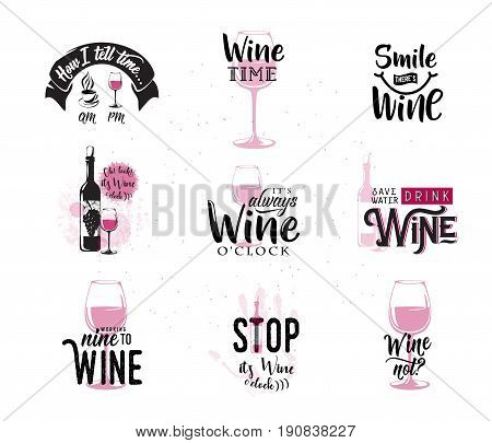 Vector illustration of drink wine related typographic quote. Wine old logo design for vintage kitchen print element with grunge spot, wineglass, bottle, type text sign