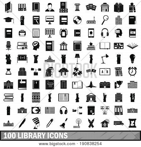 100 library icons set in simple style for any design vector illustration