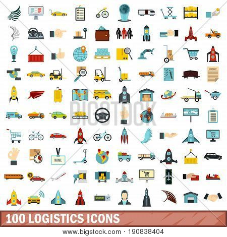 100 logistics icons set in flat style for any design vector illustration
