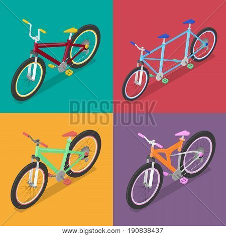 Isometric Bicycle Set with Mountane Bike and Tricycle. City Transport. Vector flat 3d illustration