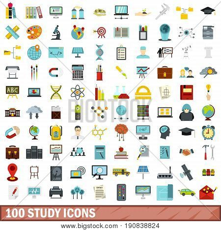 100 study icons set in flat style for any design vector illustration