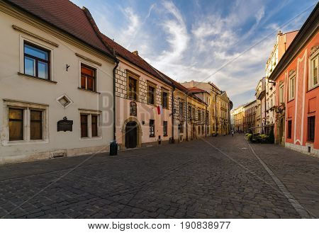 Vintage architecture in Krakow streets Poland in the afternoon. Poland Europe.