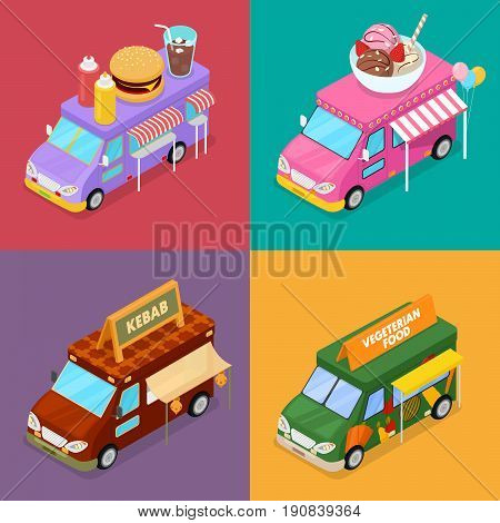Isometric Street Food Trucks with Vegeterian Food, Burger, Kebab and Ice Cream Cafe. Vector flat 3d illustration
