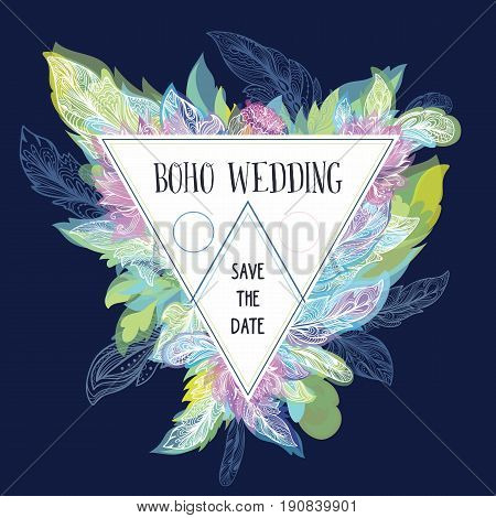 Creative triangle shape frame with feathers and flowers on blue background for invitation design