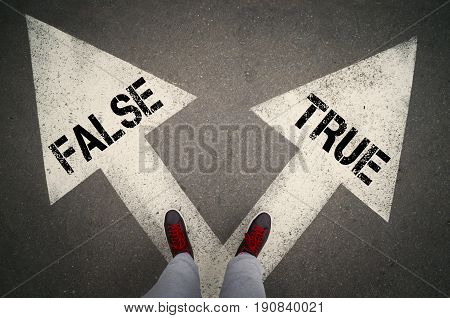 TRUE versus FALSE written on the white arrows dilemmas concept.