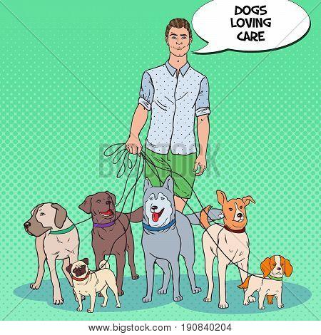 Pop Art Man Dog Walker. Pets Care. Vector illustration