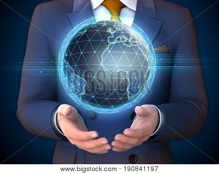 Businessman with an Earth globe floating over his hands. 3D illustration.