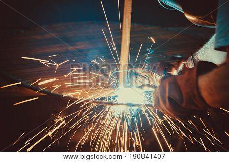 Welding Work. Erecting Technical Steel Industrial Steel Welder In Factory. Craftsman. Soft Focus. Sh