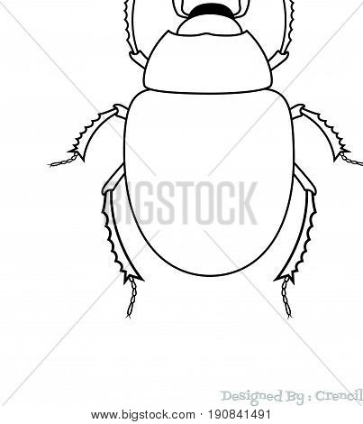 Drawing Art of Scarab Beetle Insect - Vector Stock Illustration