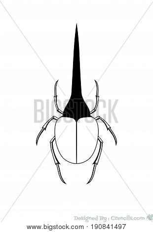 Drawing Art of Hercules Beetle Insect - Vector Stock Illustration