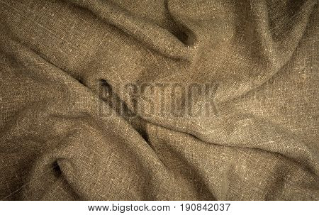Burlap natural coarse cloth tablecloth with folds