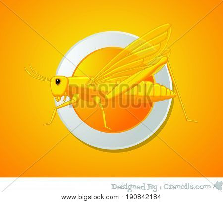 Creepy Grasshopper Dish - Vector Stock Illustration