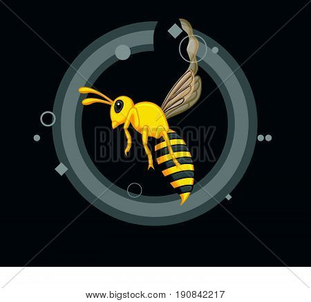 Creepy Wasp Insect - Vector Stock Illustration
