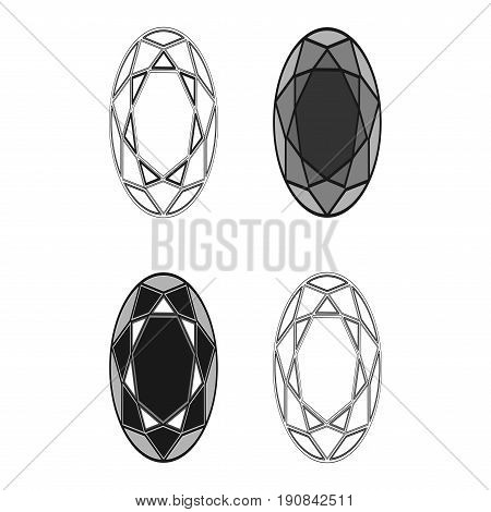 Diamond Set Icon.vector Illustration. Shiny Crystal Sign. Brilliant Stone. Black Stroke Isolated On