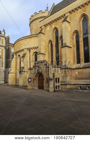 LONDON, GREAT BRITAIN - SEPTEMBER 19, 2014: This is the remnant of the Templars' historic residence - the Temple Church which was built in the 12th century.