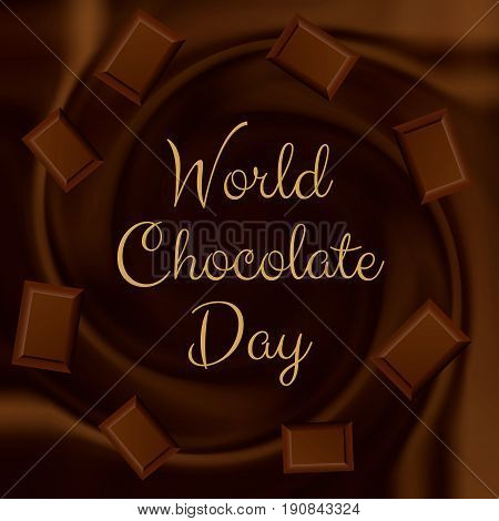 World Chocolate day background with melted chocolate and pieces of chocolate bar