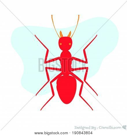 Red Creepy Dangerous Army Ant Insect Vector Illustration