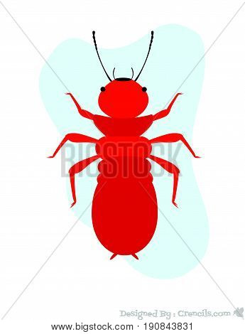 Red Creepy Weird Dangerous Termite Insect Vector Illustration
