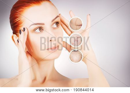 red haired woman model skin lifting concept
