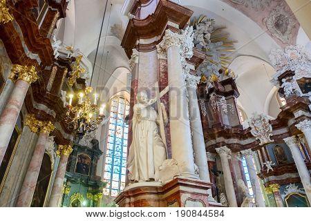 Vilnius, Lithuania - May 05, 2017: Interior Inside The St. Johns Church (vilnius University Ensemble