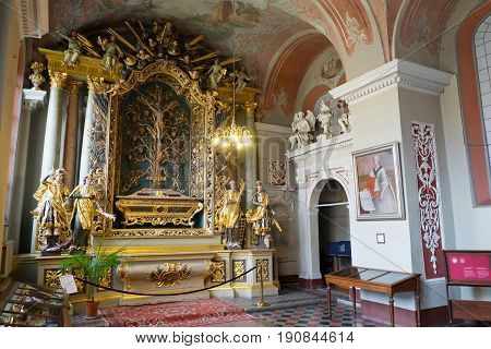 Vilnius, Lithuania - May 05, 2017: Interior The Chapel Of St. Johns Church (vilnius University Ensem