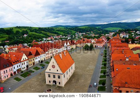 Old UNESCO town Bardejov panorama town hall and square view.