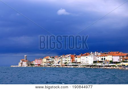 Picturesque old town Piran in Slovenia scenic beautiful view of coast