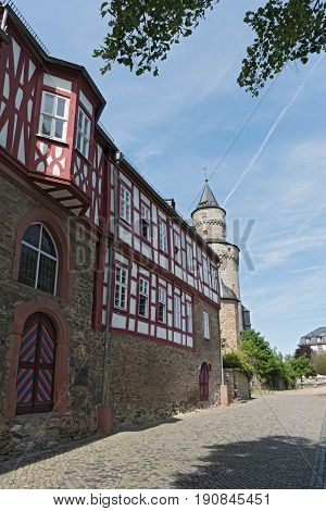 The Renaissance castle Idstein with a witch tower