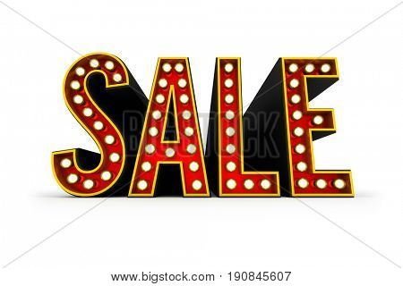 Typical theater style 3D letters spelling the word Sale over white background