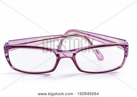 Modern spectacles isolated on white background. close up