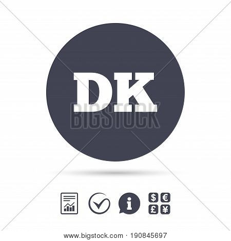 Denmark language sign icon. DK translation symbol. Report document, information and check tick icons. Currency exchange. Vector