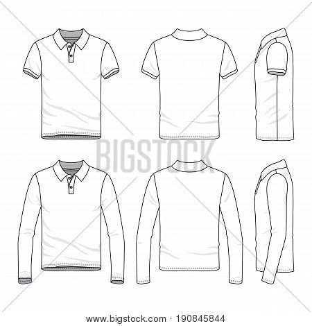 Golf polo shirts with short and long sleeves. Front, back and side views of male clothing set. Blank vector templates in casual style. Fashion illustration.