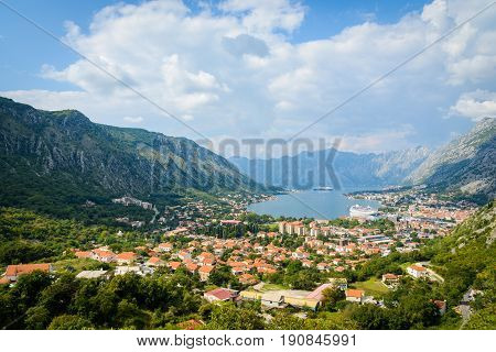 Old town of Kotor Montenegro Europe. Beautiful seaview with nice clouds.