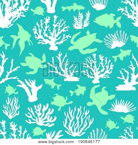 Seamless vector border with tropical motifs. Corals, fishes and tortillas on turquoise background. Beach textile collection.