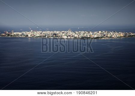 Male Maldivian capital from above, sky view