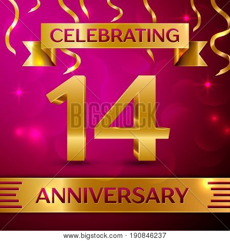 Fourteen Years Anniversary Celebration Design. Confetti and golden ribbon on pink background. Colorful Vector template elements for your birthday party. Anniversary ribbon